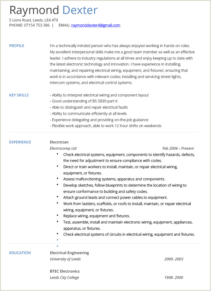 Resume format for Electrician Job Resume Examples Electrician
