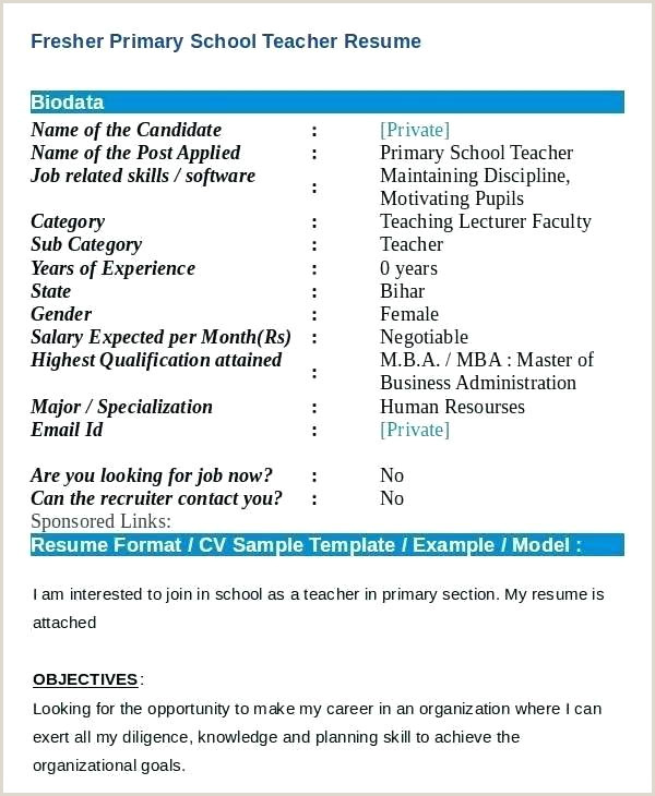 Resume format for Fresher Teacher Job Free Resume Templates for Teachers – Growthnotes