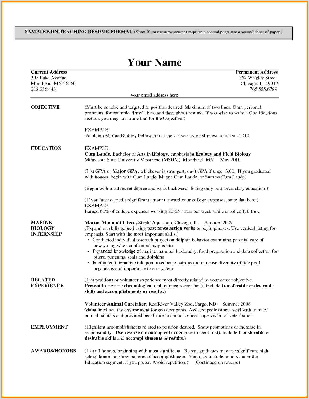 Resume format for Fresher Teacher Job Part 2 Resume format Examples