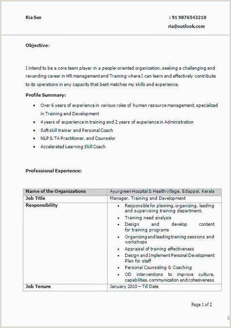 Resume format for Fresher Teachers 70 Cool Graphy Resume Samples for Teachers In Kerala