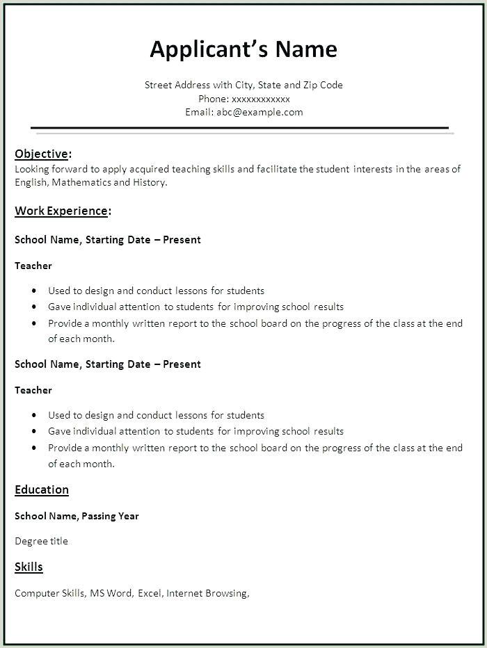 Resume format for Fresher Teachers Simple Resume format for Freshers – Wikirian