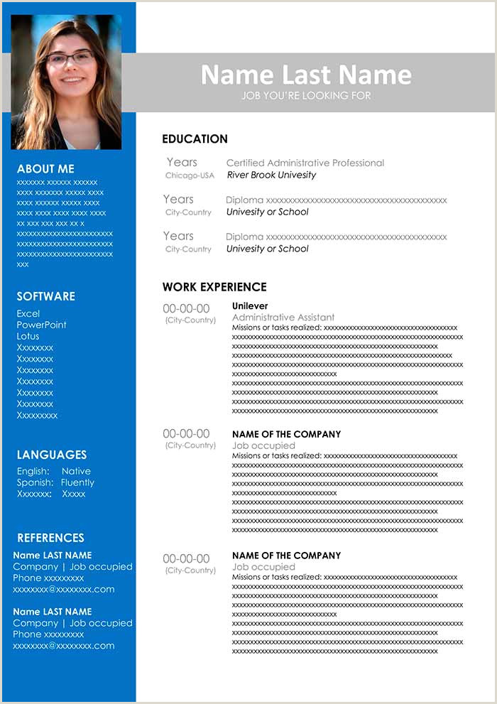 Resume format for Girl Job ▷ Administrative assistant Resume Template Free Download