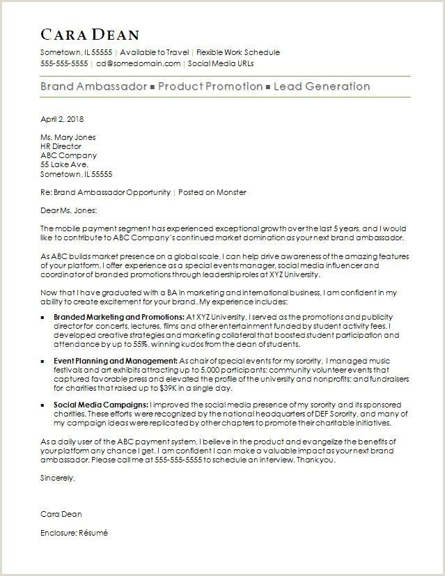 Resume Format For Girl Job Brand Ambassador Cover Letter Sample