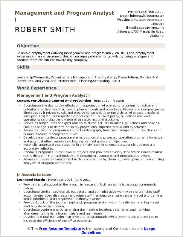 Resume format for Government Job Pdf Management and Program Analyst Resume Samples