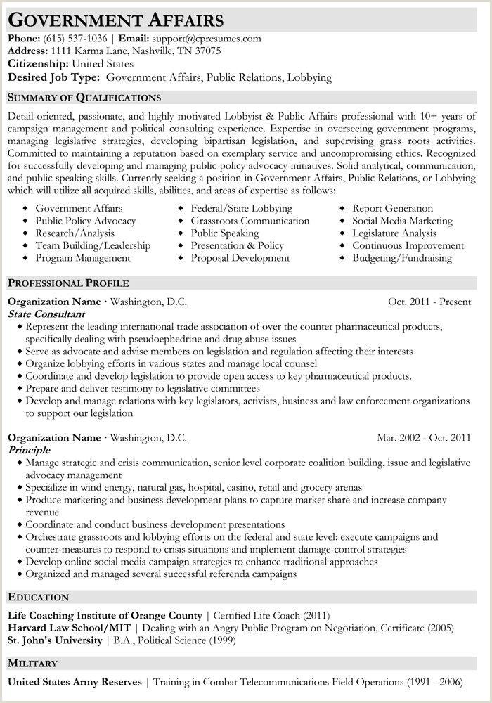 Resume format for Govt Job Government Affairs Resume Sample Job Hunt