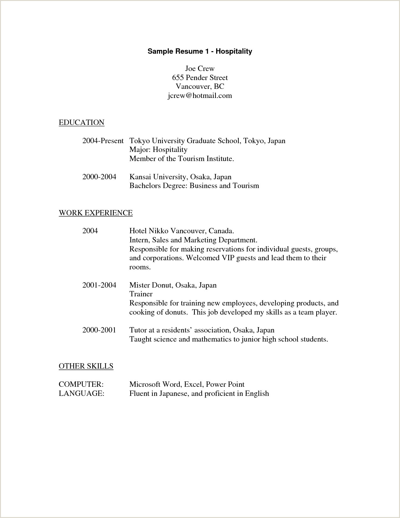 Resume format for Hotel Job Pdf Sample Resume for Hospitality Industry Jobs Van