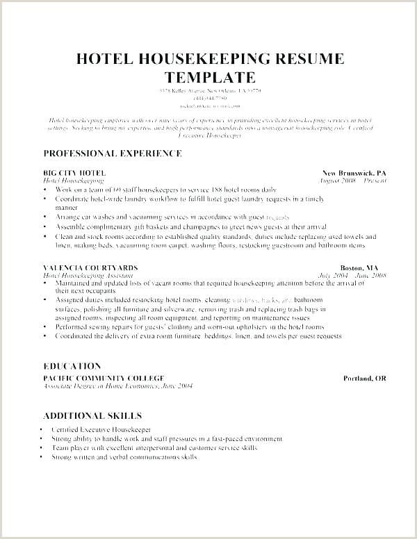 Resume Format For Housekeeping Job Hotel Housekeeper Resume The Template Site Housekeeping Manager