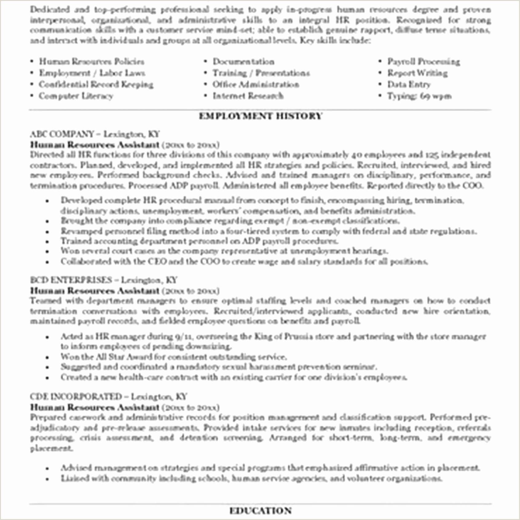 Resume Format For Hr Job Modele Cv Administratif De Base Traditional Resume Template