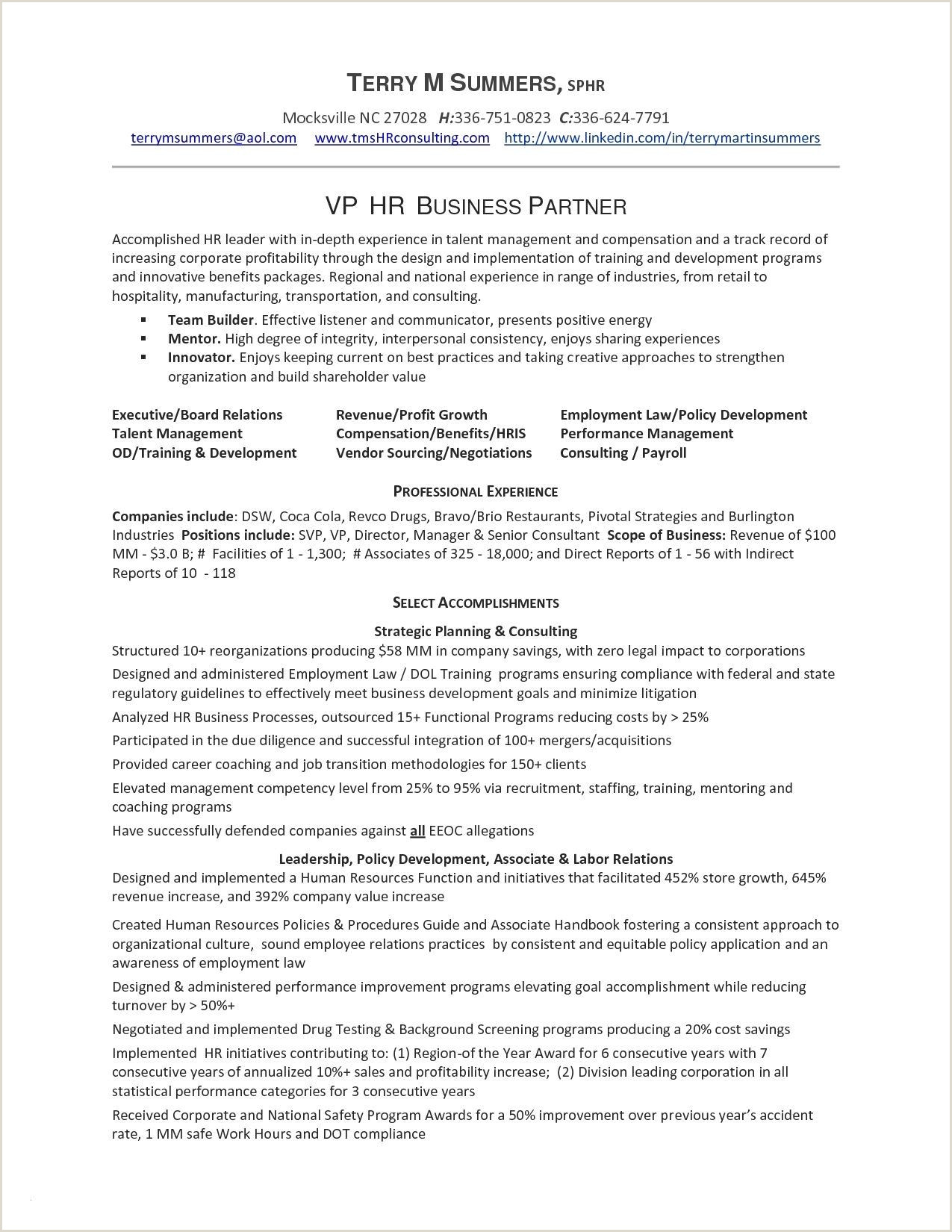 Sample Resume Format For Hr Executive New Pin By Joanna
