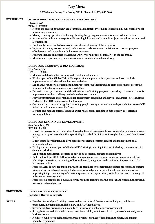 Director Learning & Development Resume Samples