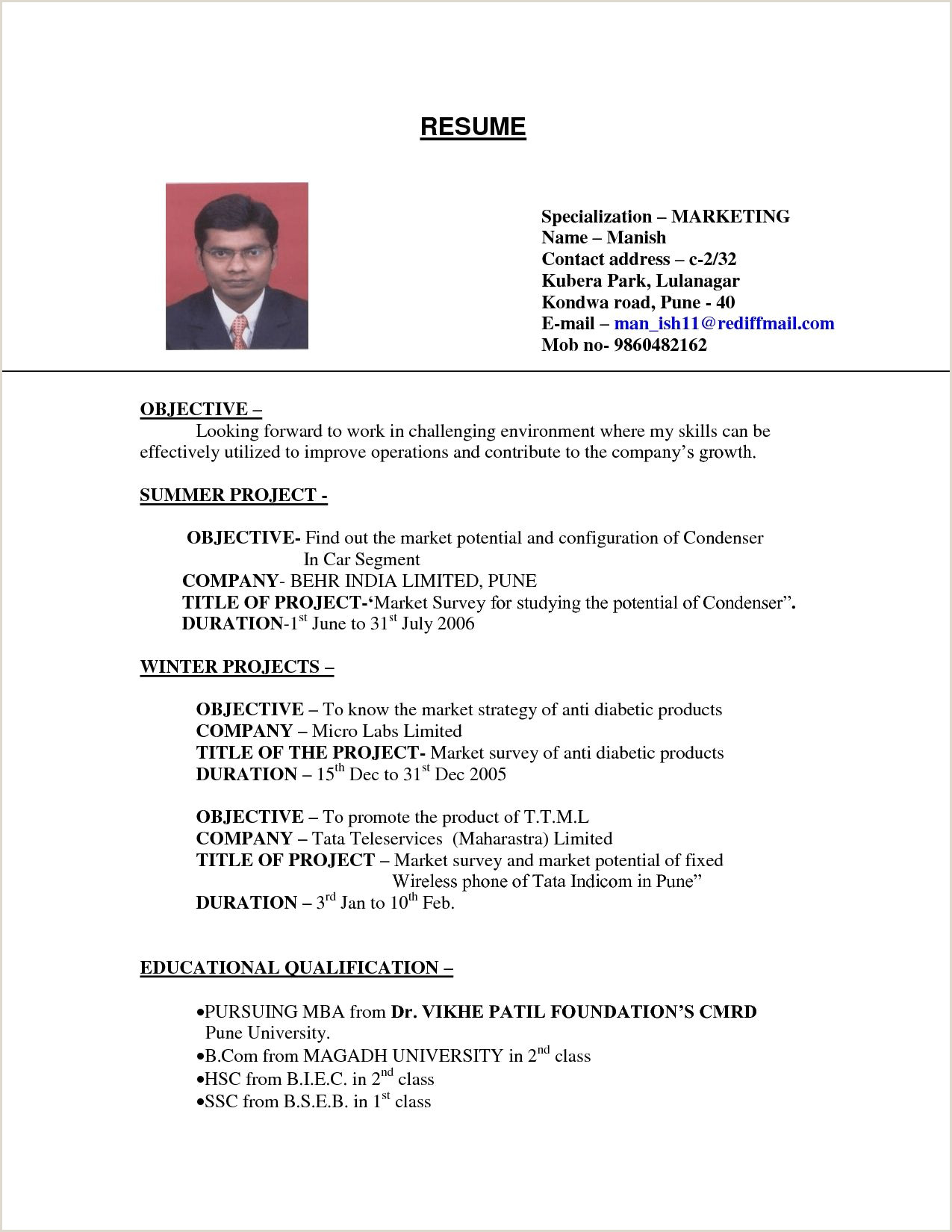 Resume format for Job B.com Examples Resumes Sample Resume for College Student
