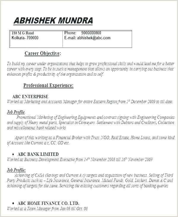 Resume format for Job Blank Sample Resume Pdf