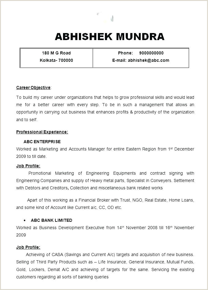 Resume format for Job Easy 10 Cv format Example
