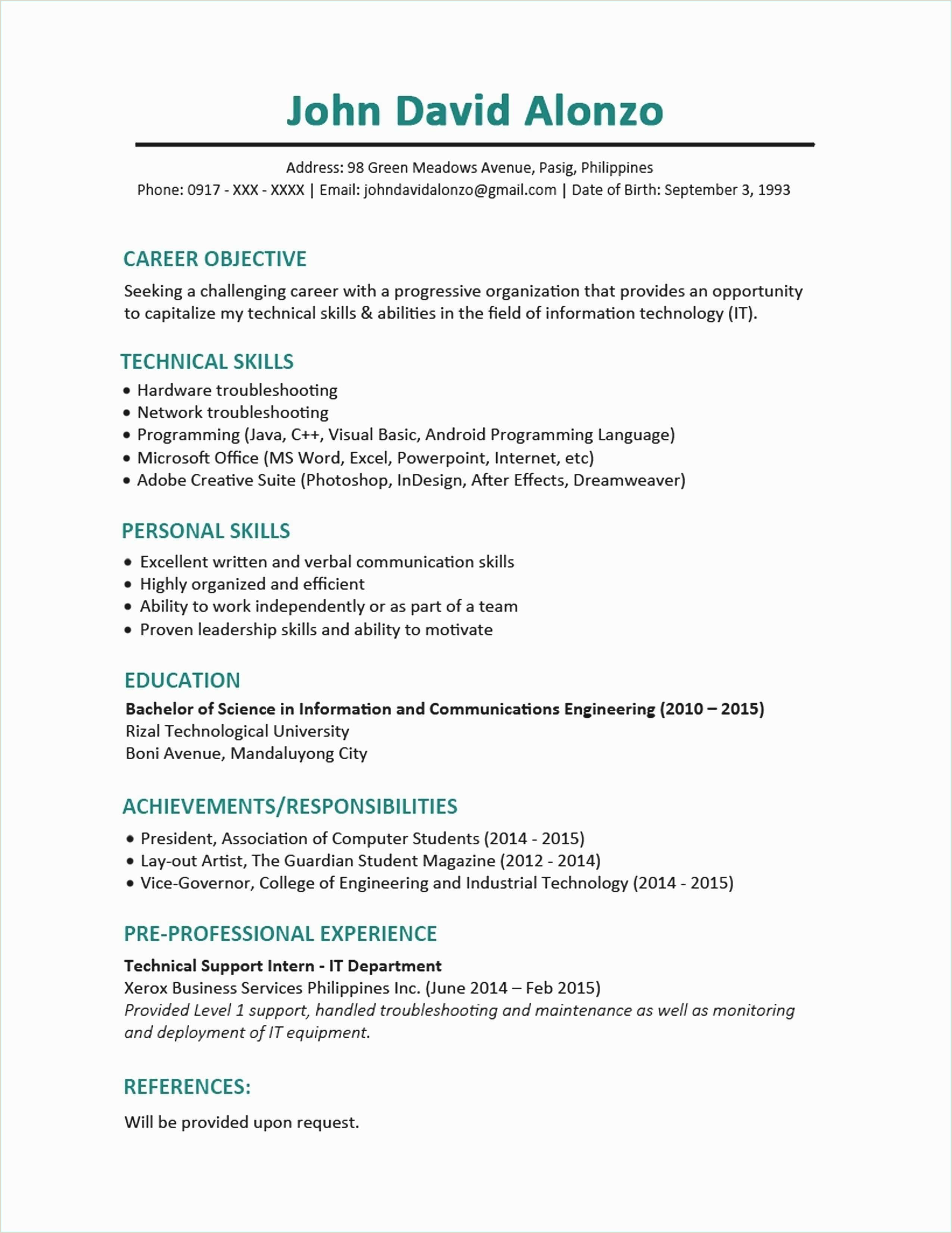 Resume Format For Job Engineering Collage Work Activity Great Chronological Resume Sample
