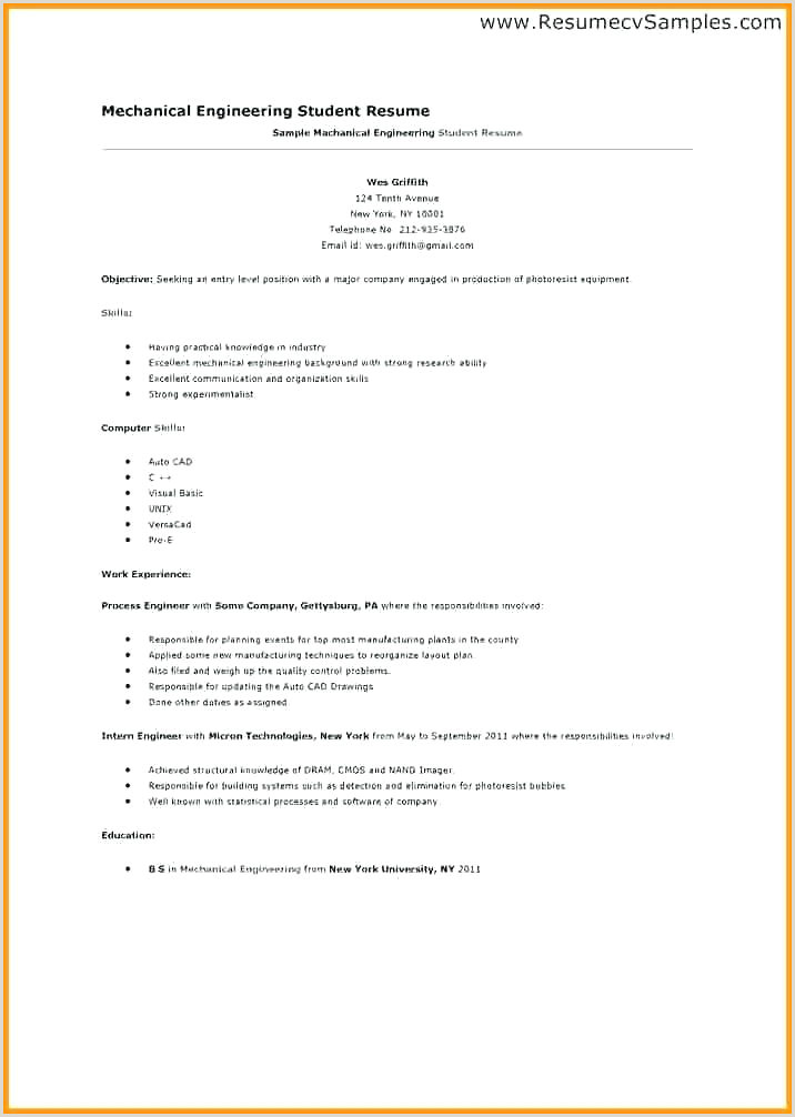 Resume format for Job Engineering Engineering Internship Resume Sample – Growthnotes