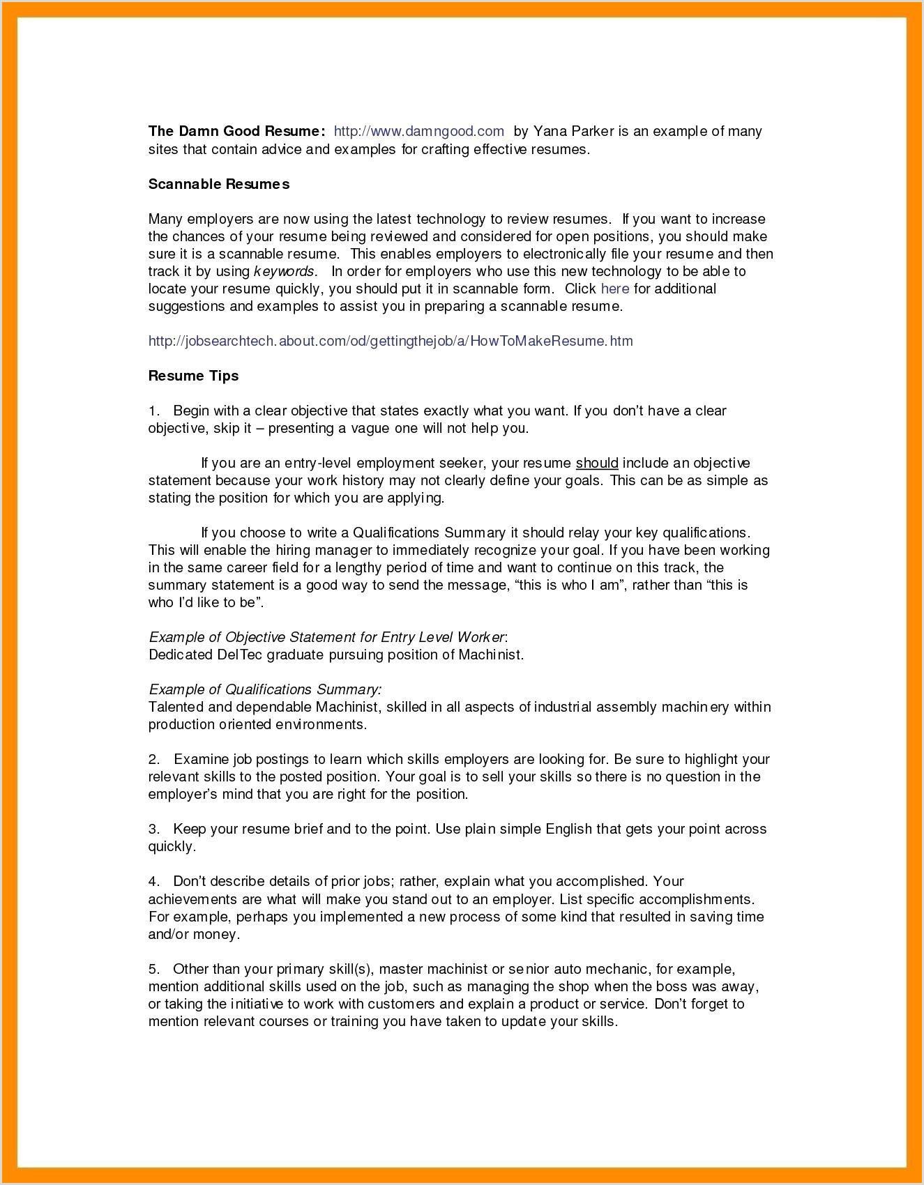 Resume format for Job Fresher Doc Doc Descargar Career Objective for Resume for B Fresher