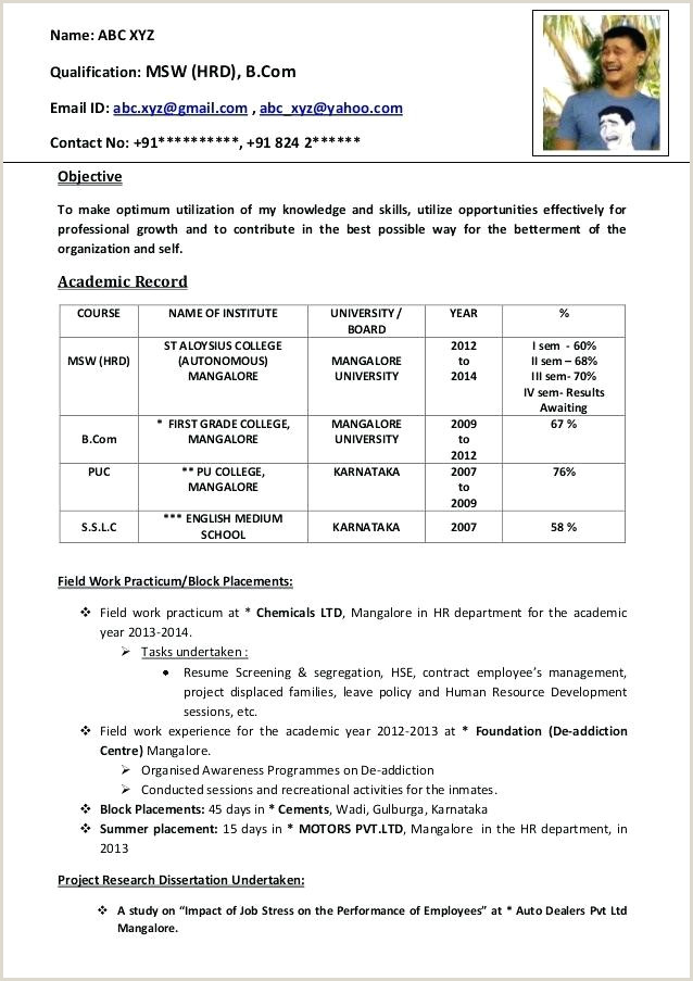 Resume format for Job Fresher Doc Resume format Fresher – Englishor