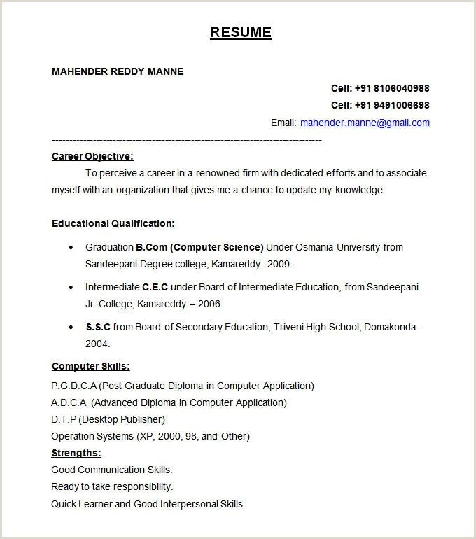 Resume format for Job Fresher Pdf Download 47 Best Resume formats Pdf Doc