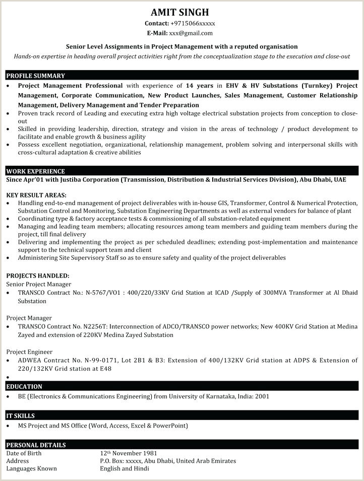 Resume format for Job Fresher Pdf Download Best It Resume format – Paknts