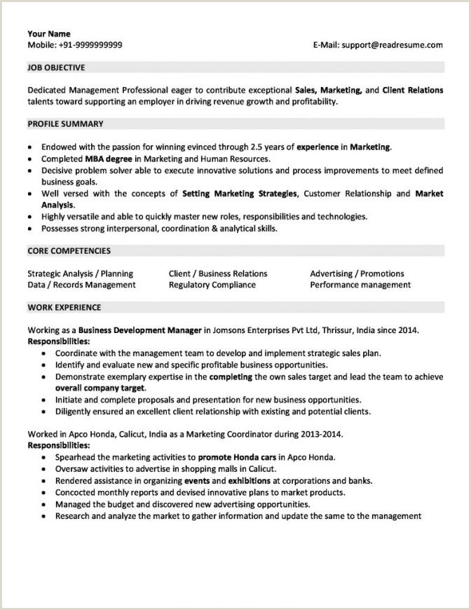 Resume format for Job Fresher Pdf Download for 5 Years Experience In Marketing 3 Resume format India
