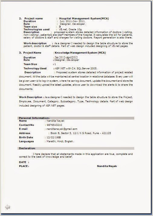 Resume format for Job Fresher Pdf M Tech Resume format Resume Templates