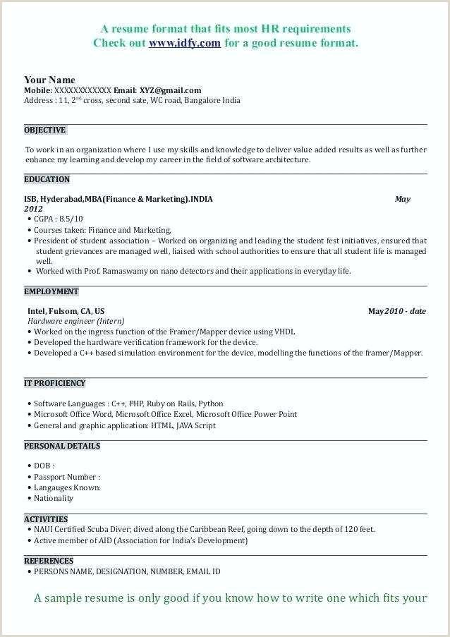 Resume format for Job Fresher Pdf Resume format for Mba Finance Freshers Pdf – Englishor