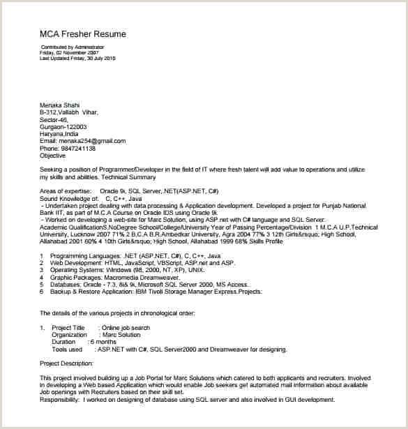 Resume format for Job Fresher Pdf Resume Template Pdf