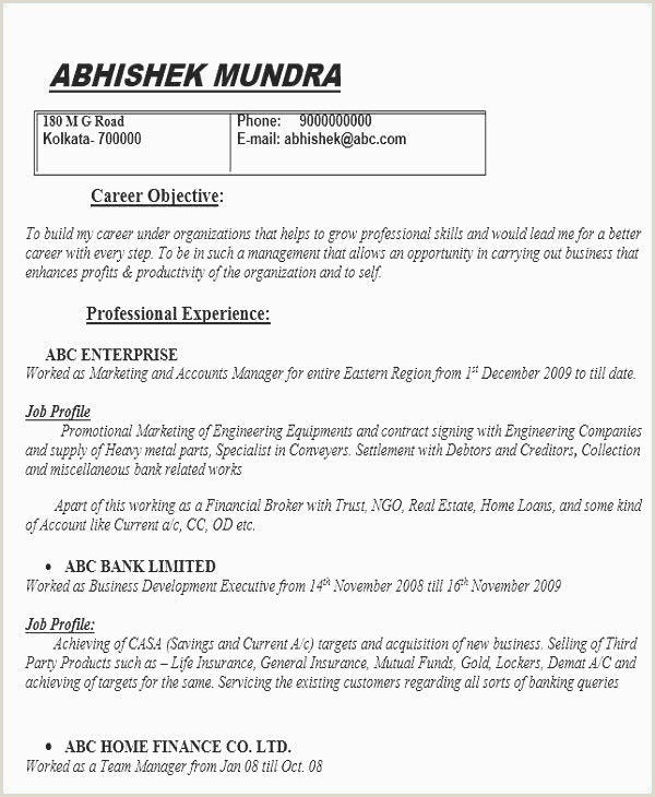 Resume format for Job Fresher Resumes format for Freshers Professional 41 Best Resume