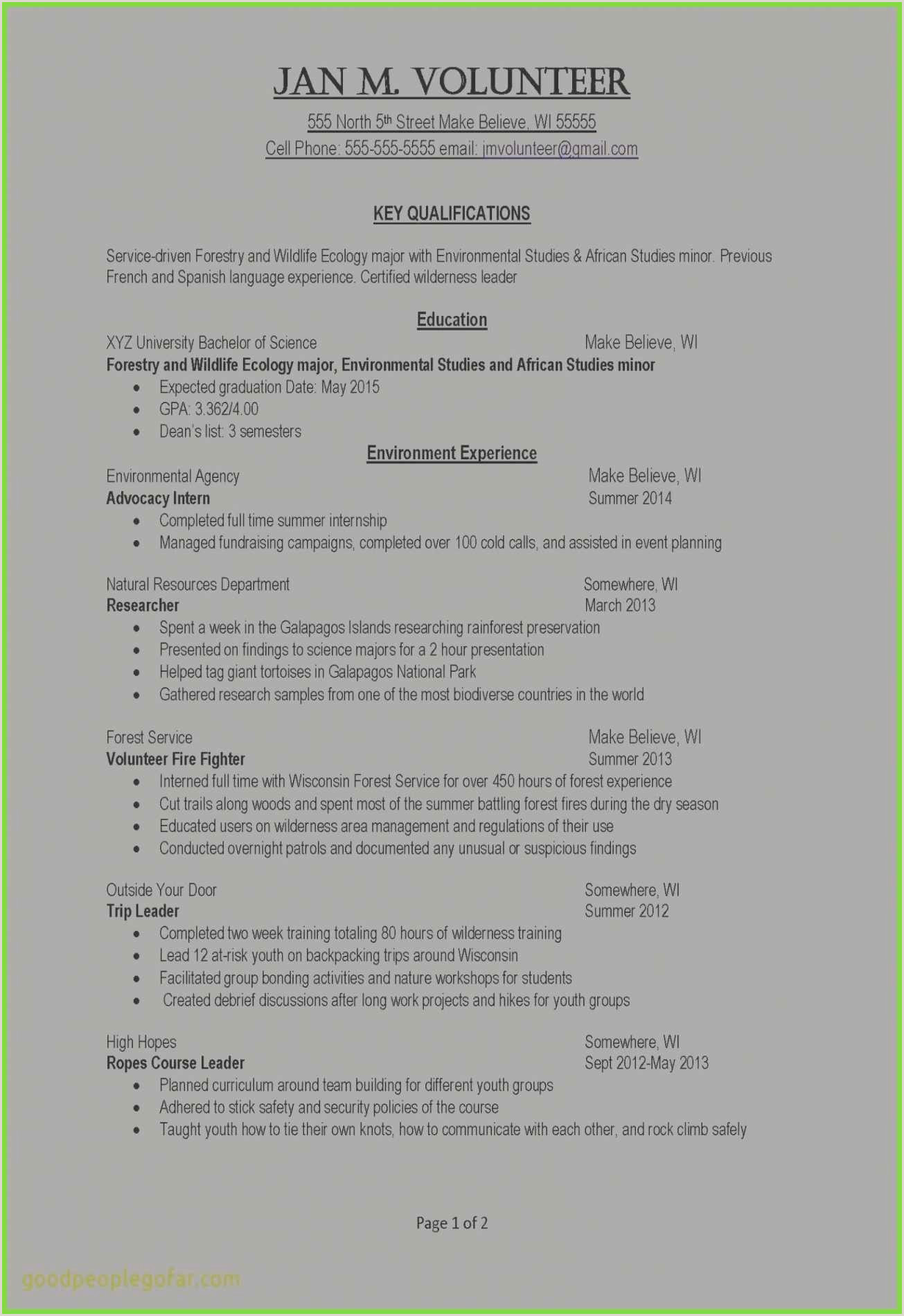 Resume format for Job Holders 10 How to List Volunteer Work On Resume Example