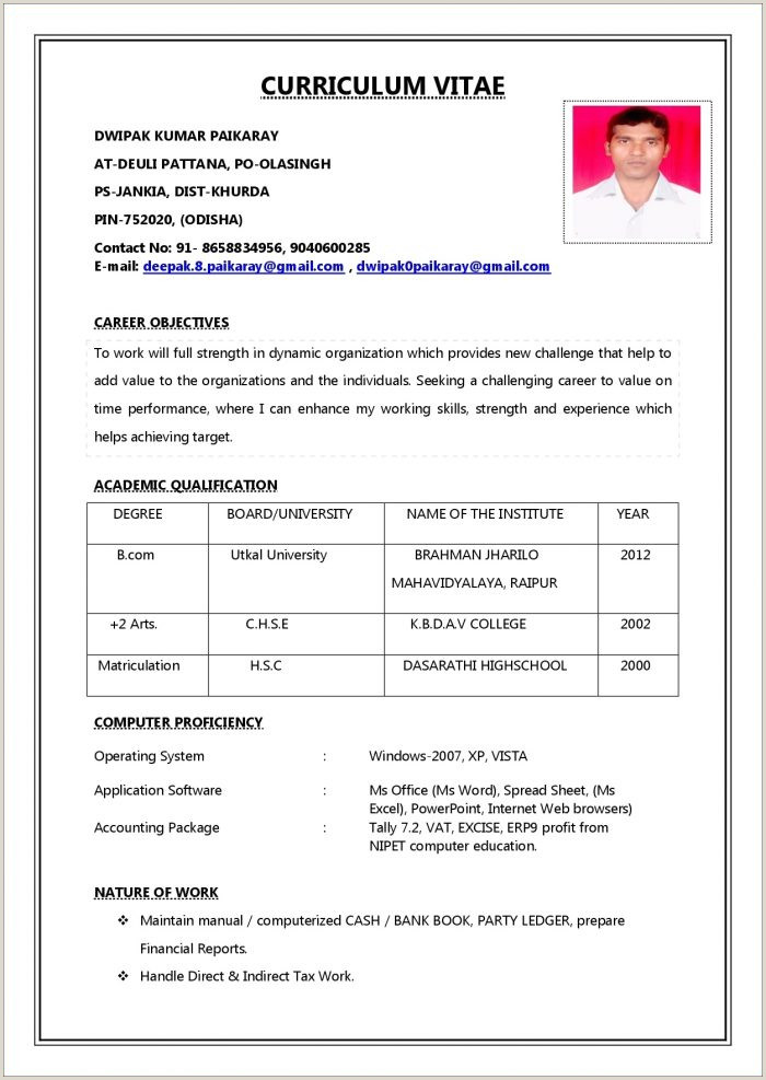 Resume format for Job In India Pdf Simple Resume format Pdf Free Fill In Resume Template Lovely