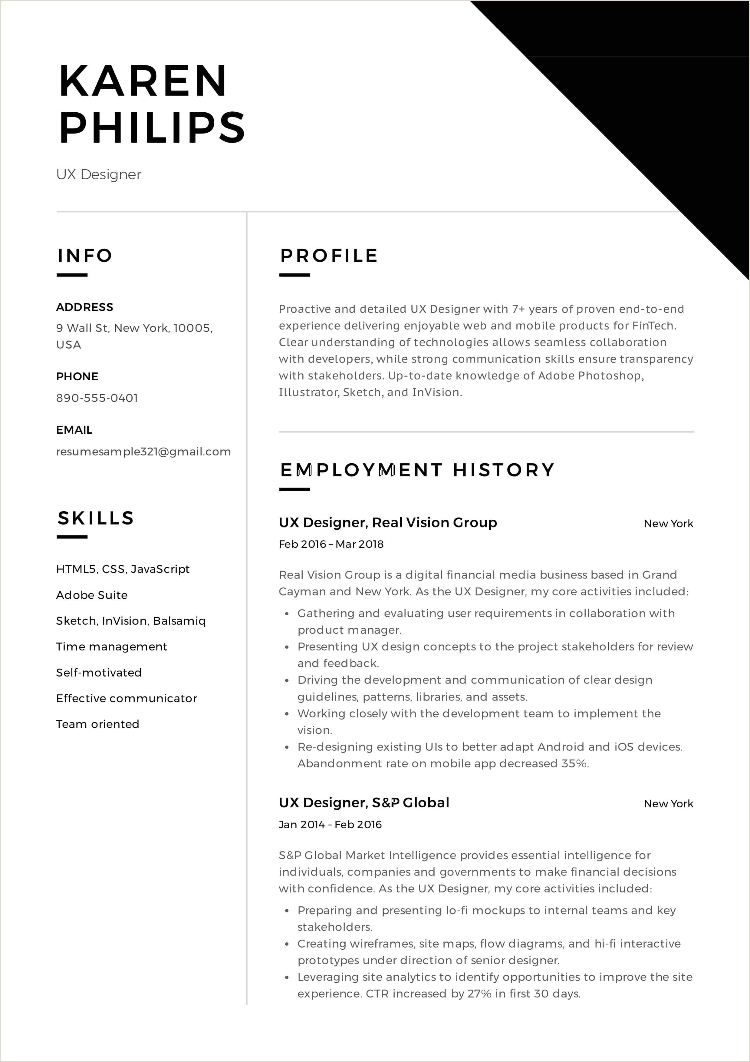 12 UX Designer Resume Sample s Resumeviking