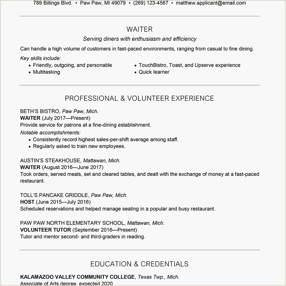 Resume format for Job Interview Pdf Download Waiter Waitress Resume and Cover Letter Examples
