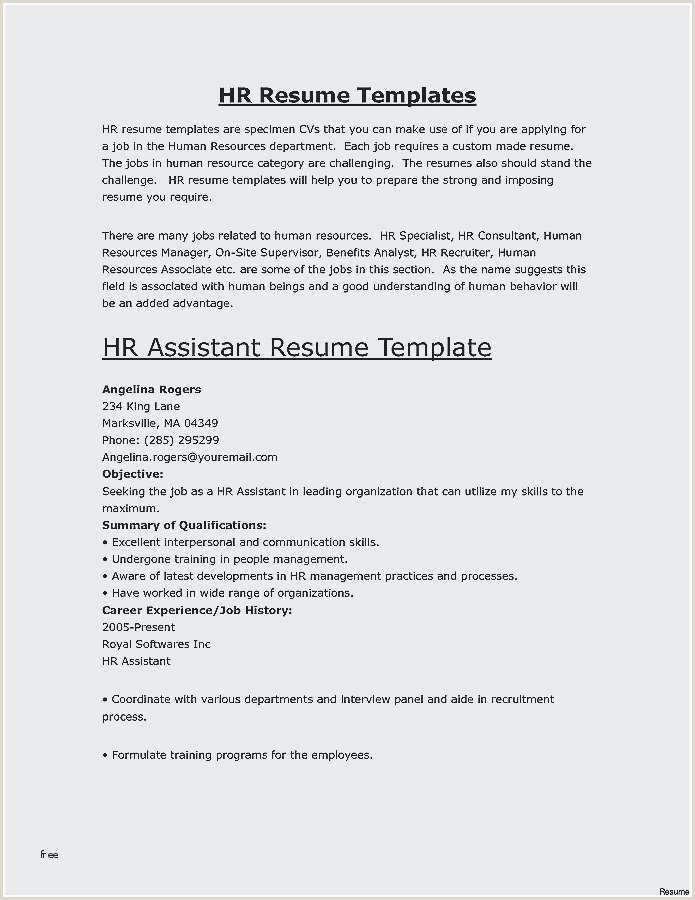 Resume Format For Job Latest Unique Hr Resume Skills