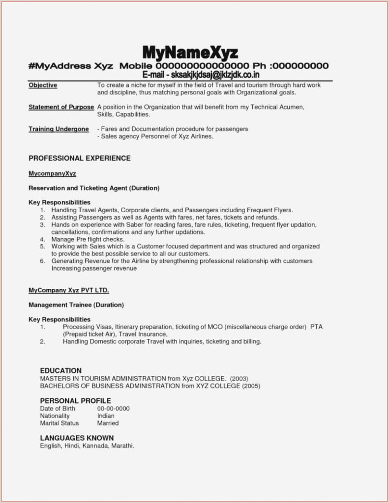 Resume format for Job Marathi Adorablep Agent Resume Cover Letter Also for Airline Ramp