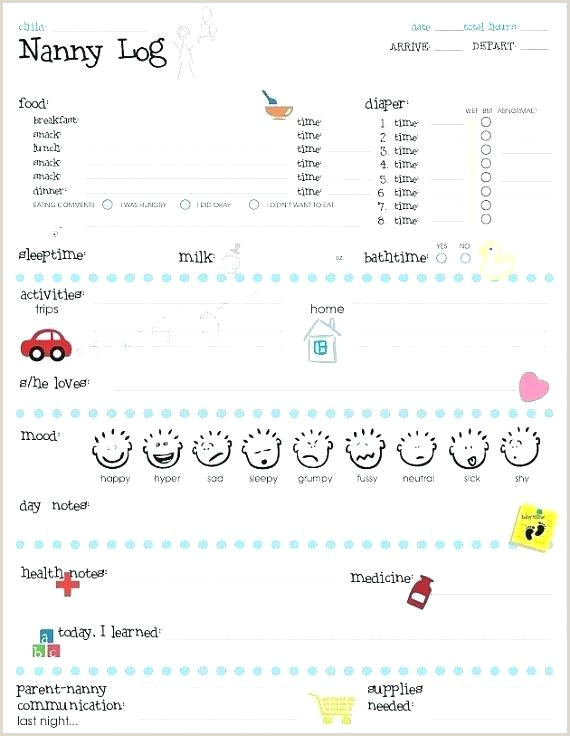 Nanny Log Babysitting Binder Activities Daily Template Sheet