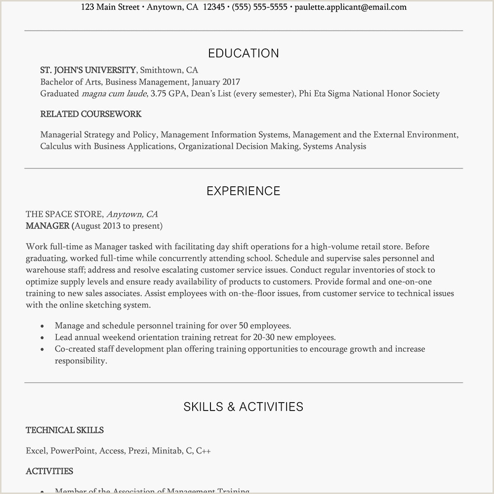Resume format for Job Mba Entry Level Management Resume Example and Writing Tips