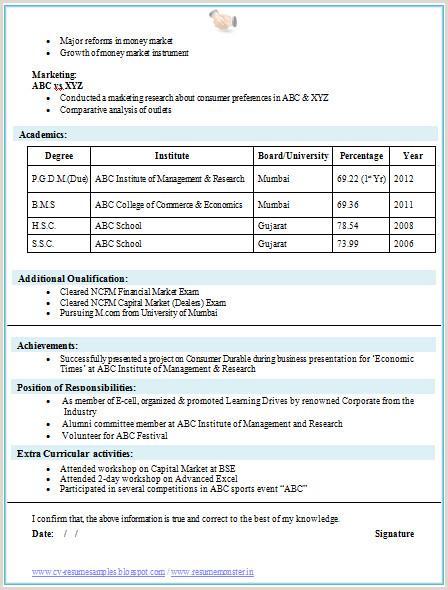 Resume Format For Job Mba Mba Finance Fresher Resume Template 2 Career