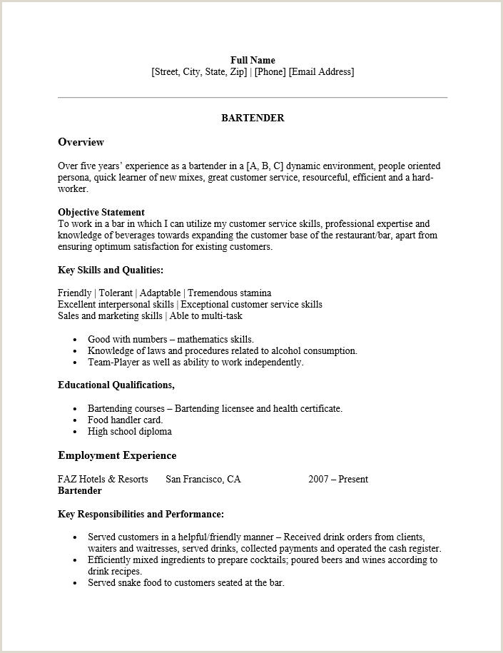 Resume format for Job Microsoft Word Bartender Resume Template Microsoft Word Royal