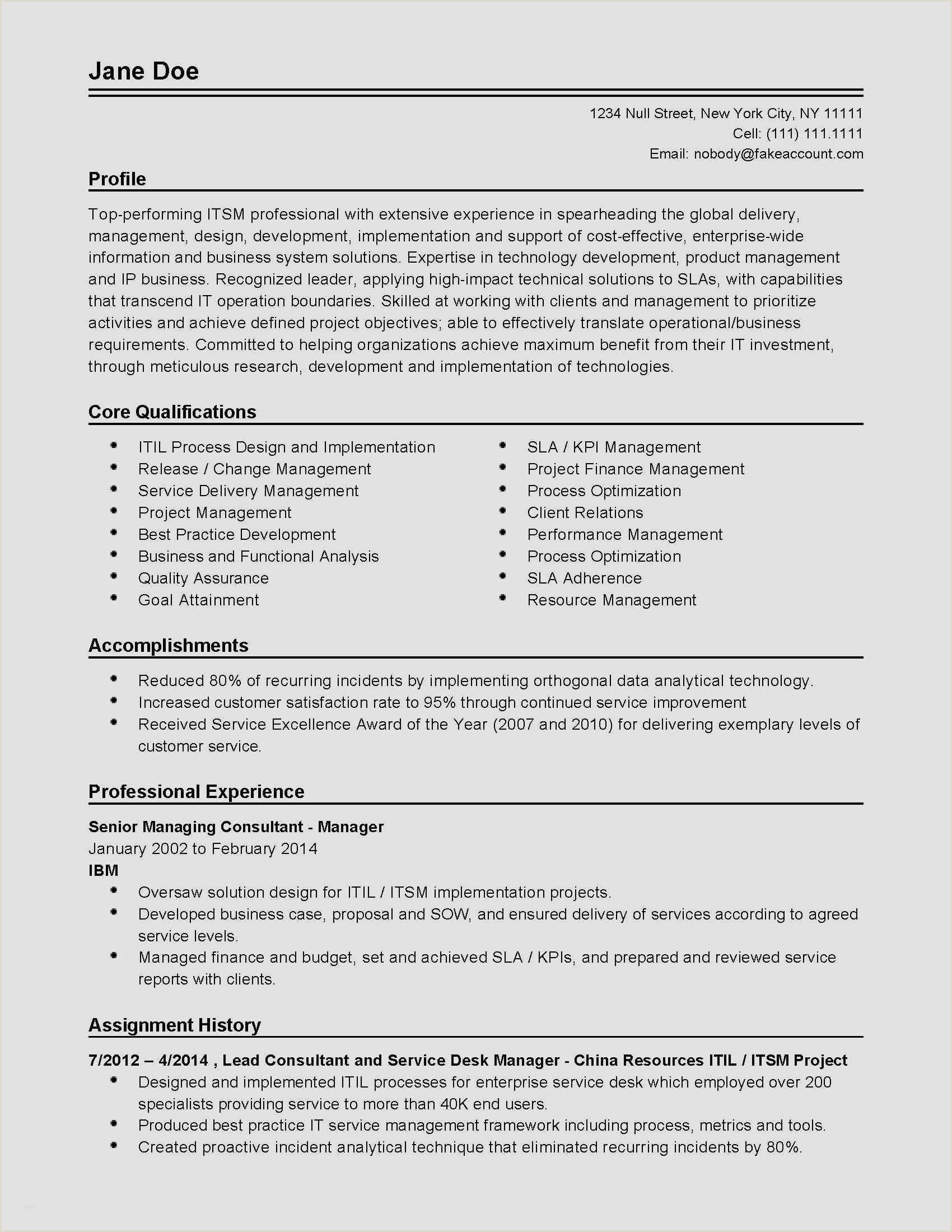Resume format for Job New 59 Sap S4 Hana Resume