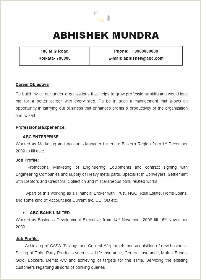 Resume format for Job normal Modele Cv format Odt