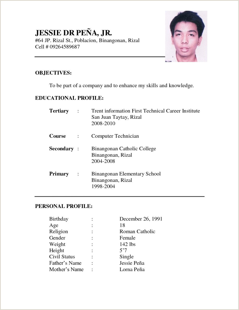 Resume format for Job Pdf Download Resume Example format for Ojt Latest Free Templates Biodata
