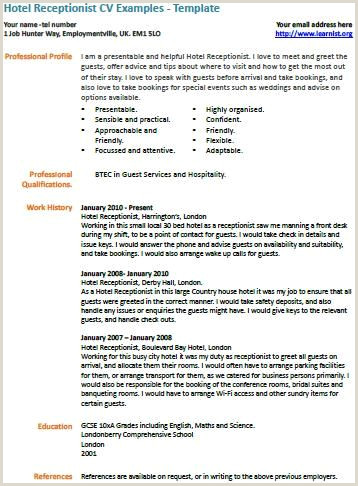 Resume format for Job Receptionist Hotel Receptionist Cv Example Work Resumes Etc