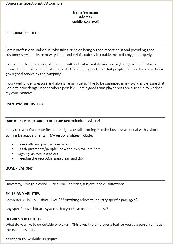 Resume format for Job Receptionist Resume Examples for Receptionist Job – Wikirian