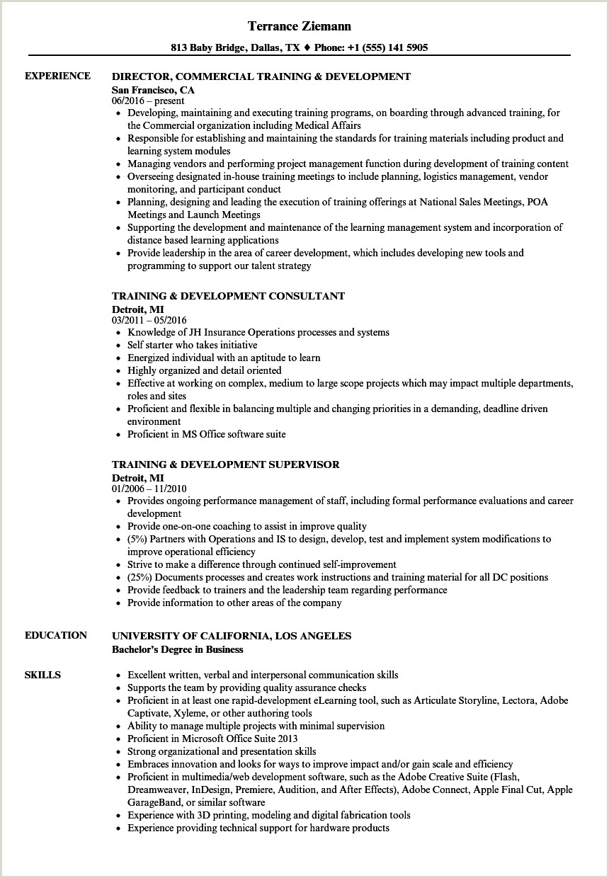 Resume format for Job Switch Training and Development Resume Content Sample Samples