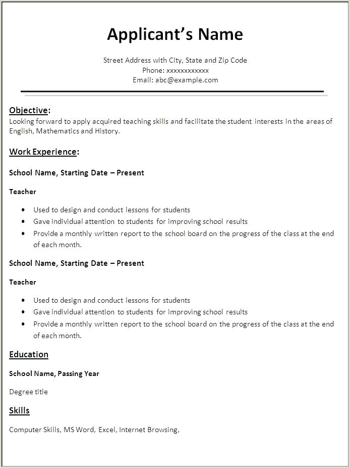 Resume Format For Lecturer Job In Computer Science International Resume Format Free Download Sample For