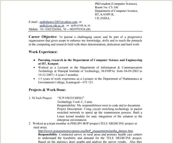 New Resume Samples for Freshers In India Resume Design