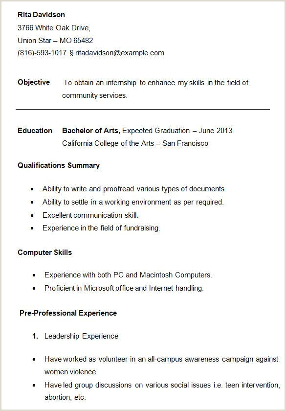For College Students 3 Resume Format