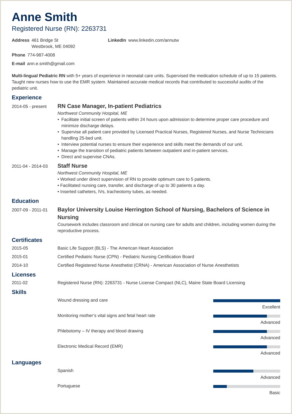 Resume Format For Nursing Job Free Download Nursing Resume Template & Guide [examples Of Experience