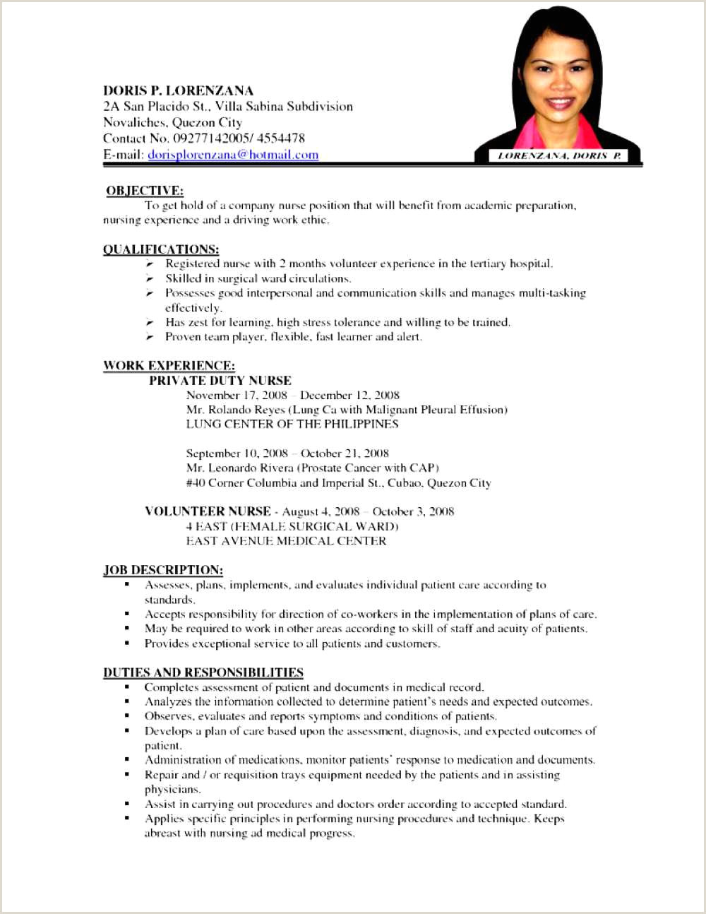 Resume Format For Nursing Job Free Download – Flamingo Spa
