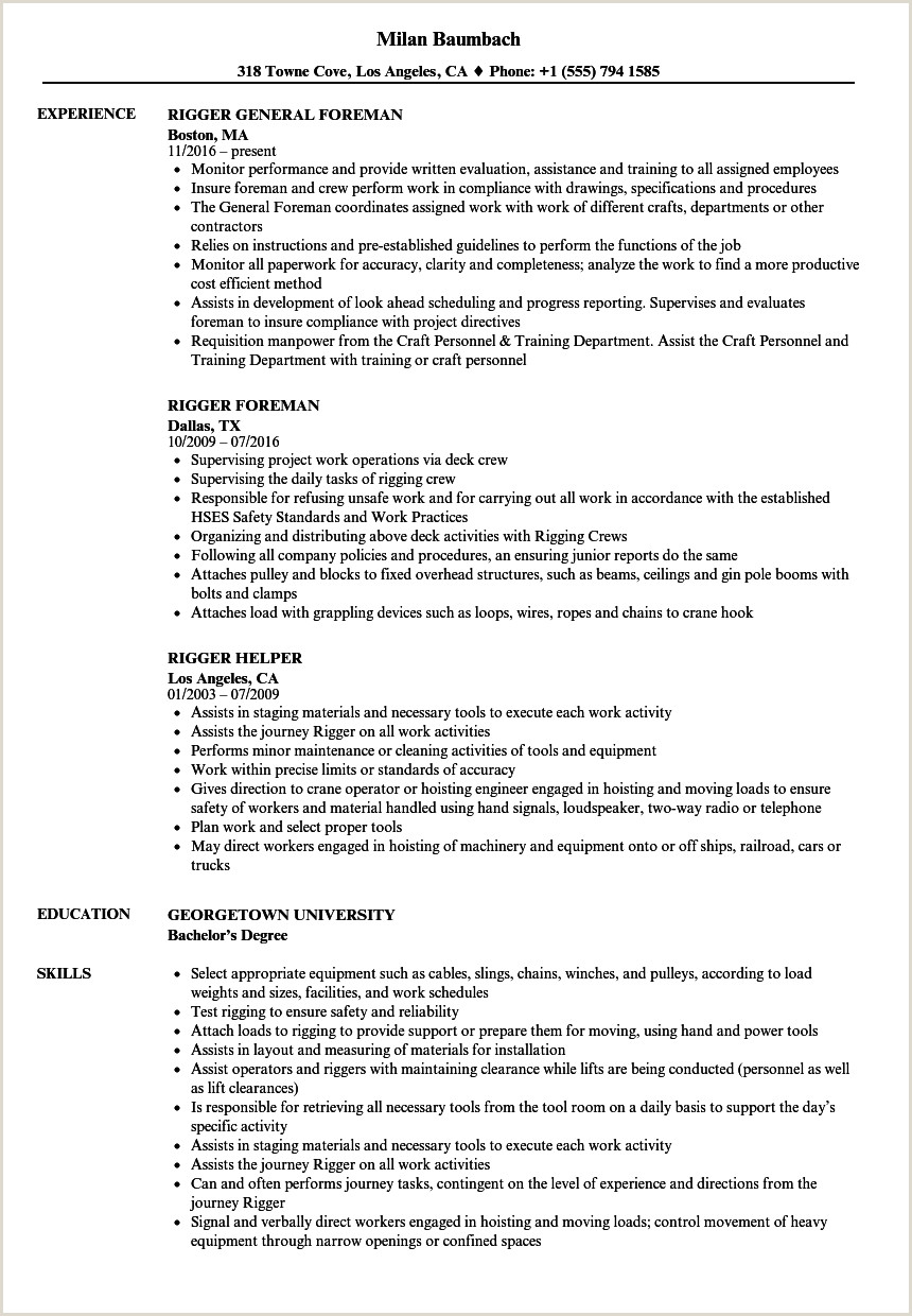 Resume format for Offshore Jobs Rigger Resume Samples